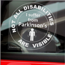 1 x Parkinson's-Not All Disabilities Are Visible-Round-Window Sticker-Sign,Car,Disabled